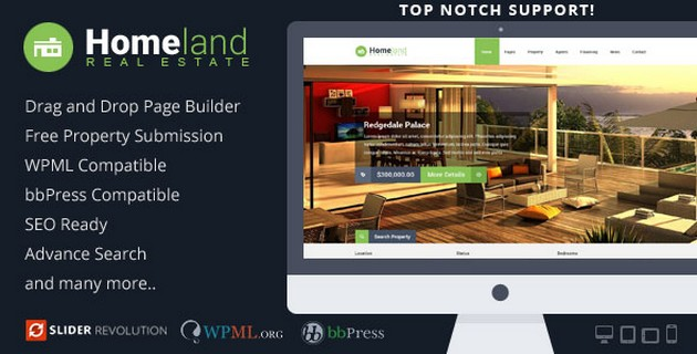 Real Estate WordPress Theme Homeland v3.1.5 Free Download